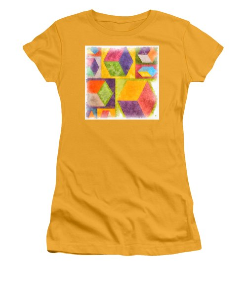 Square Cubes Abstract Women's T-Shirt (Athletic Fit)