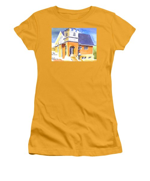 Women's T-Shirt (Junior Cut) featuring the painting St. Paul Lutheran 3 Impressions by Kip DeVore