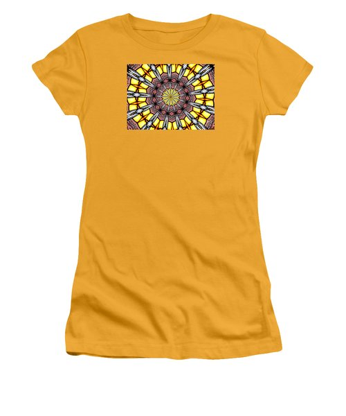 Women's T-Shirt (Junior Cut) featuring the photograph Stained Glass Kaleidoscope 23 by Rose Santuci-Sofranko