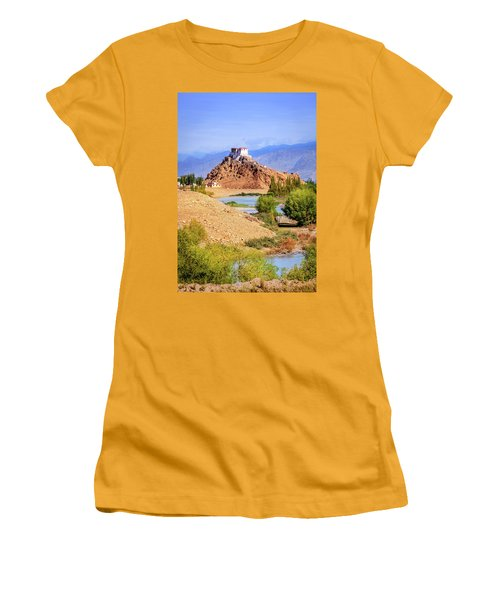 Women's T-Shirt (Junior Cut) featuring the photograph Stakna Monastery by Alexey Stiop