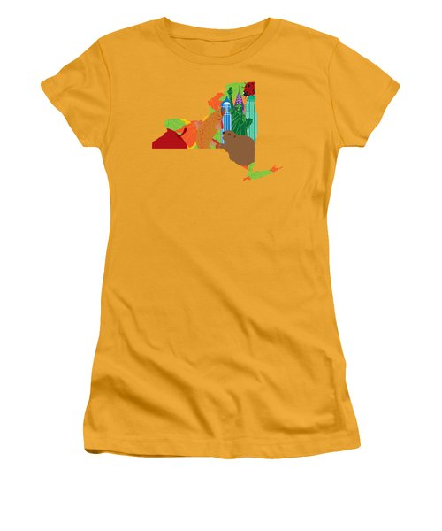 State Of New York Official Map Symbols Women's T-Shirt (Junior Cut) by Jit Lim
