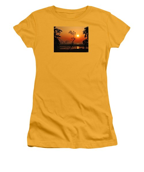 Women's T-Shirt (Junior Cut) featuring the photograph Steamy Summer Sunrise by Laura Ragland