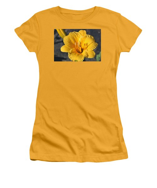 Women's T-Shirt (Athletic Fit) featuring the photograph Stella De Oro And Morning Dew by Sheila Brown