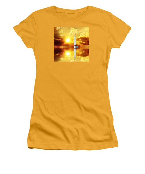 Women's T-Shirt (Junior Cut) featuring the mixed media Summer Sun And Fun by Gabriella Weninger - David
