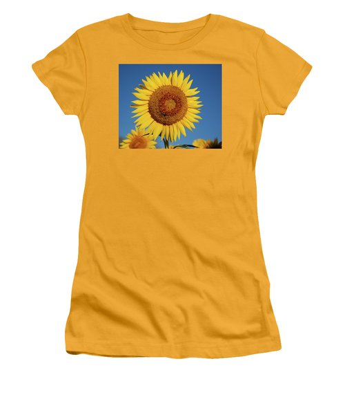 Sunflower And Blue Sky Women's T-Shirt (Junior Cut) by Nancy Landry