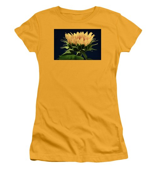 Women's T-Shirt (Junior Cut) featuring the photograph Sunflower Foliage And Petals by Chris Berry