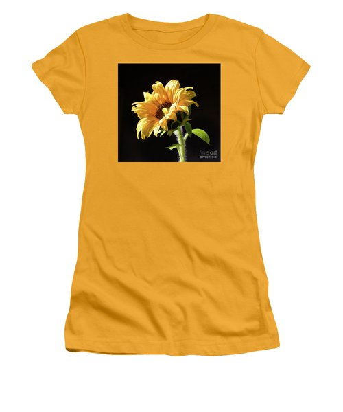 Sunflower Isloated On Black Women's T-Shirt (Athletic Fit)