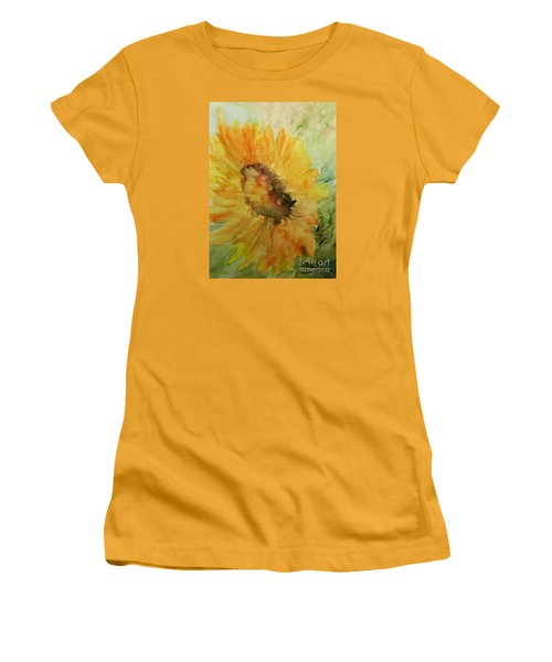 Women's T-Shirt (Junior Cut) featuring the painting Sunflower Watercolor by AmaS Art