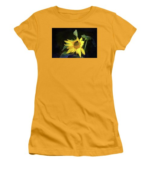 Women's T-Shirt (Athletic Fit) featuring the photograph Sunflower With Texture by Trina Ansel