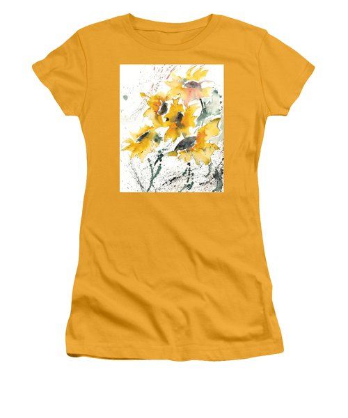 Women's T-Shirt (Junior Cut) featuring the painting Sunflowers 10 by Ismeta Gruenwald