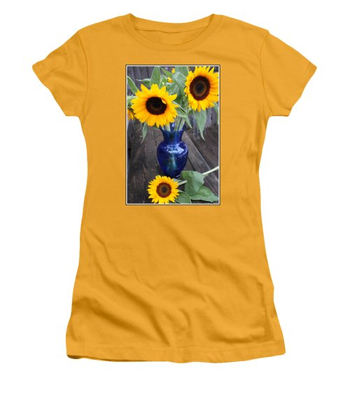 Sunflowers And Blue Vase - Still Life Women's T-Shirt (Athletic Fit)