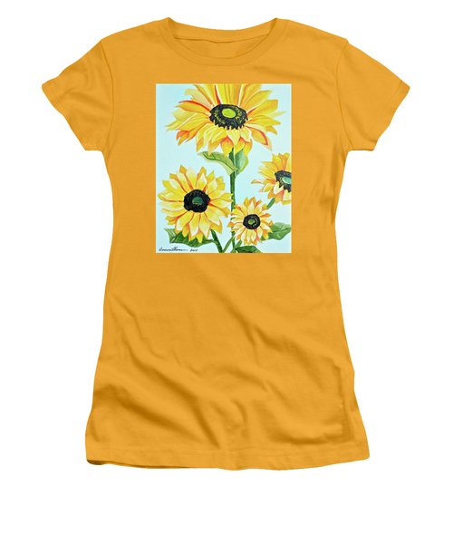 Women's T-Shirt (Junior Cut) featuring the painting Sunflowers  by Donna Blossom