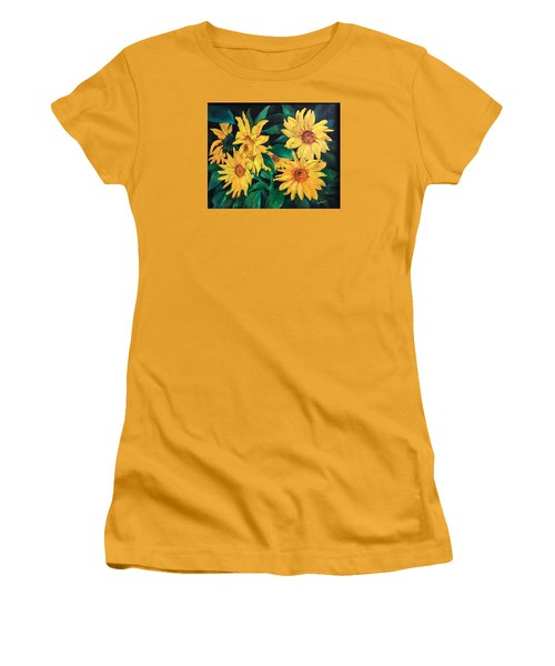 Sunflowers Women's T-Shirt (Junior Cut) by Ellen Canfield