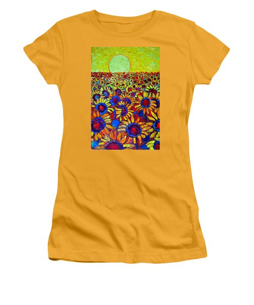 Sunflowers Field At Sunrise Women's T-Shirt (Athletic Fit)