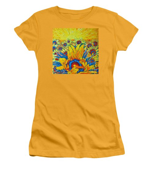 Sunflowers Field In Sunrise Light Women's T-Shirt (Athletic Fit)
