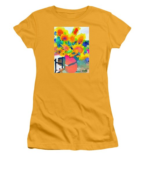 Sunflowers In A Bucket At Rockport Farmers Market Women's T-Shirt (Junior Cut) by Melissa Abbott