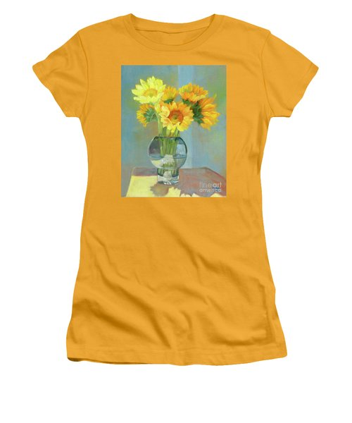 Women's T-Shirt (Athletic Fit) featuring the painting Sunflowers In A Glass Vase Number One by Marlene Book