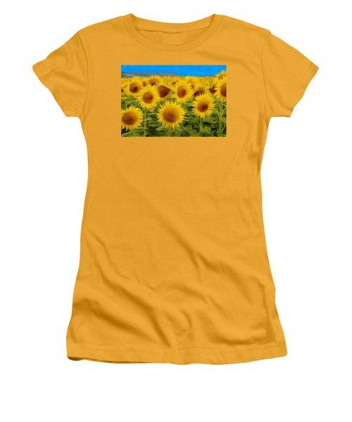 Sunflowers In The Field Women's T-Shirt (Junior Cut) by Jeff Kolker