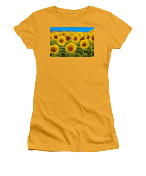 Sunflowers In The Field Women's T-Shirt (Athletic Fit)