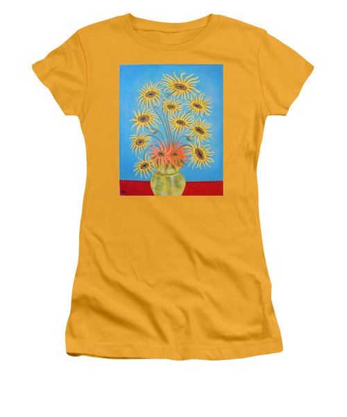 Sunflowers On Blue Women's T-Shirt (Junior Cut) by Marie Schwarzer