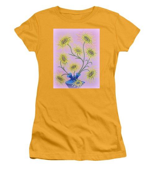 Sunflowers On Pink Women's T-Shirt (Junior Cut) by Marie Schwarzer