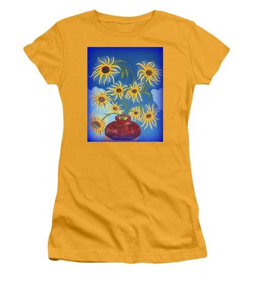 Sunflowers On Navy Blue Women's T-Shirt (Junior Cut) by Marie Schwarzer