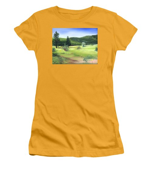 Sunlit Mountain Meadow Women's T-Shirt (Junior Cut) by Jane Autry