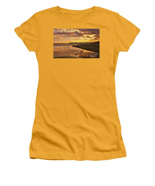 Sunset And Gulls Women's T-Shirt (Junior Cut) by Kathy Baccari