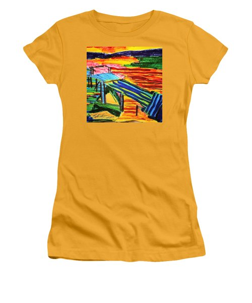 Sunset At Dock Women's T-Shirt (Athletic Fit)