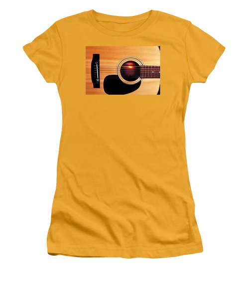 Sunset In Guitar Women's T-Shirt (Junior Cut) by Garry Gay