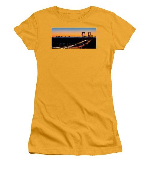Sunset Over Narrrows Bridge Panorama Women's T-Shirt (Junior Cut) by Rob Green