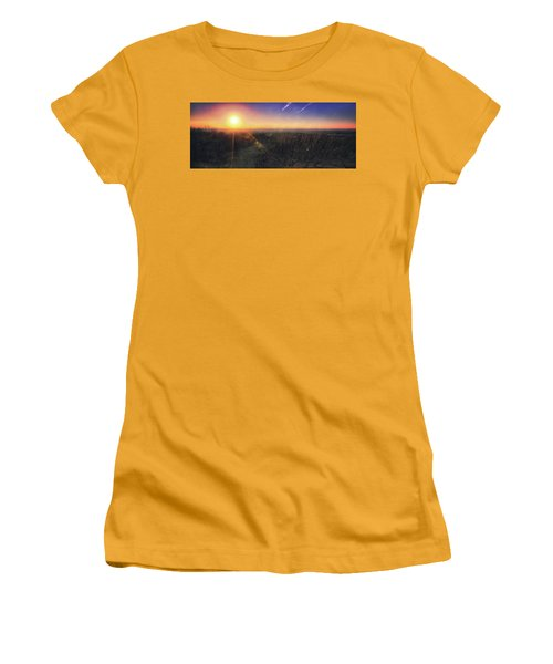 Sunset Over Wisconsin Treetops At Lapham Peak  Women's T-Shirt (Junior Cut) by Jennifer Rondinelli Reilly - Fine Art Photography