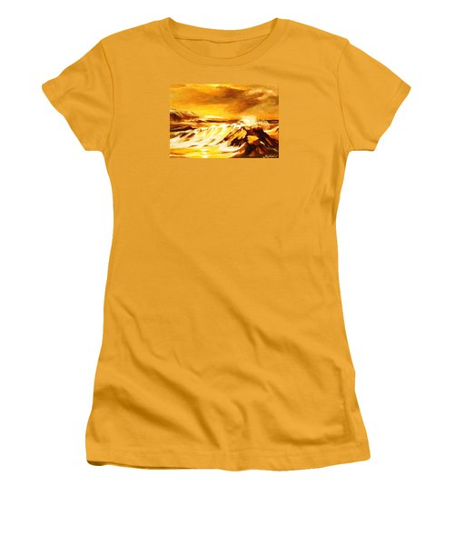 Women's T-Shirt (Junior Cut) featuring the painting Sunset Surf by Al Brown