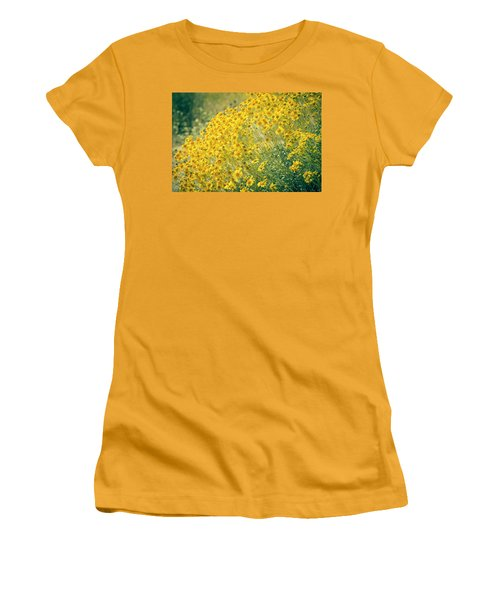 Superbloom Golden Yellow Women's T-Shirt (Athletic Fit)