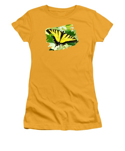 Swallowtail Butterfly Feeding On Flowers Women's T-Shirt (Junior Cut) by Christina Rollo
