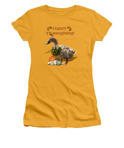 Thanksgiving Indian Duck Women's T-Shirt (Junior Cut) by Gravityx9 Designs