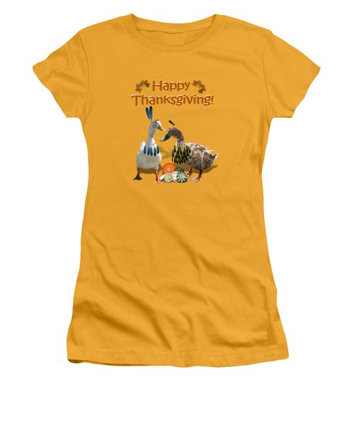 Thanksgiving Indian Ducks Women's T-Shirt (Junior Cut) by Gravityx9  Designs