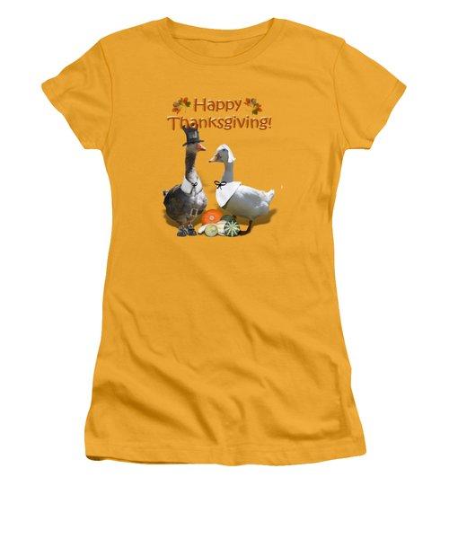 Thanksgiving Pilgrim Ducks Women's T-Shirt (Athletic Fit)