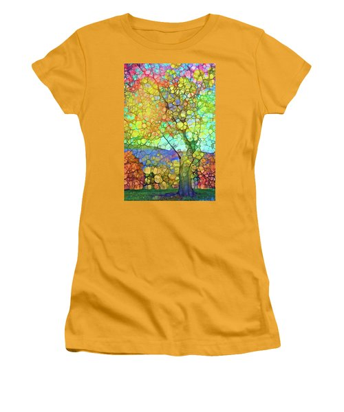 Women's T-Shirt (Junior Cut) featuring the digital art The Contagious Laughter Of Trees by Tara Turner