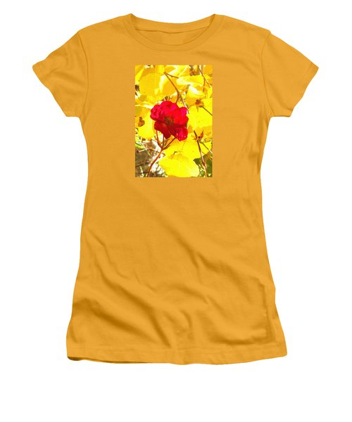 Women's T-Shirt (Junior Cut) featuring the photograph The Last Rose Of Autumn by Anastasia Savage Ealy