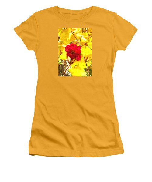 Women's T-Shirt (Junior Cut) featuring the photograph The Last Rose Of Autumn II by Anastasia Savage Ealy