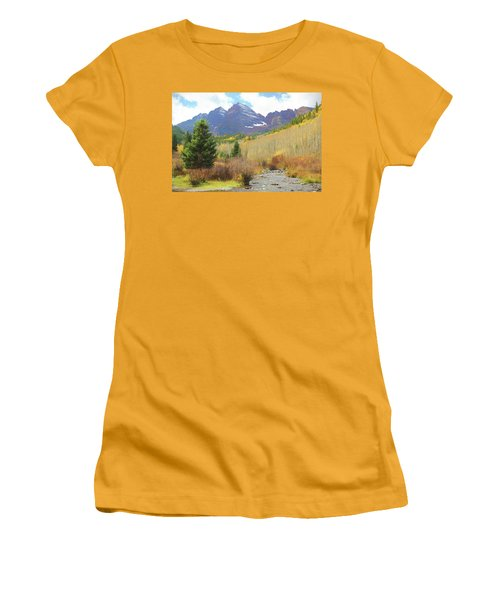 Women's T-Shirt (Junior Cut) featuring the photograph The Maroon Bells Reimagined 3 by Eric Glaser
