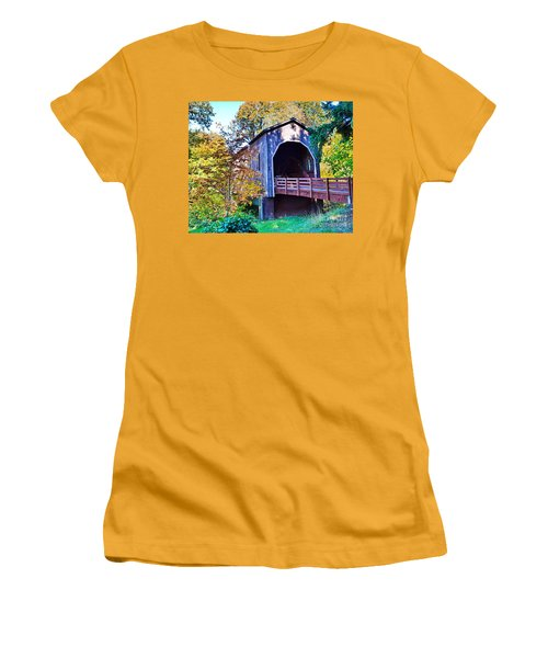 The Pass Creek Covered Brkidge Women's T-Shirt (Junior Cut) by Ansel Price