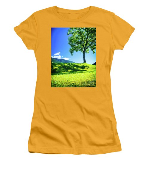 Women's T-Shirt (Athletic Fit) featuring the photograph The Tree On The Hill by Silvia Ganora