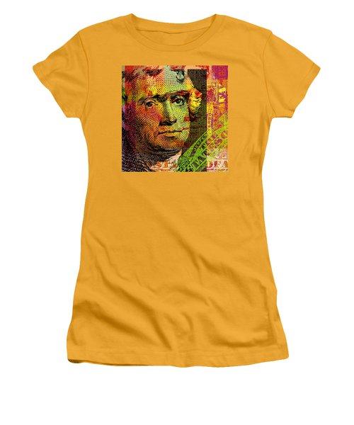 Women's T-Shirt (Junior Cut) featuring the digital art Thomas Jefferson - $2 Bill by Jean luc Comperat
