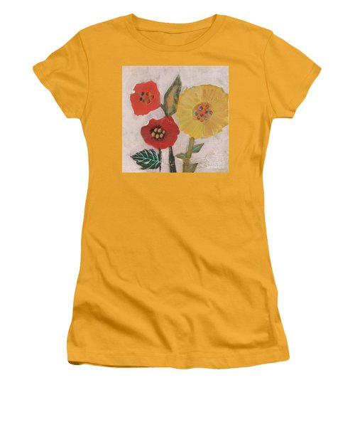 Women's T-Shirt (Athletic Fit) featuring the painting Three Awkward Flower Blossoms by Robin Maria Pedrero