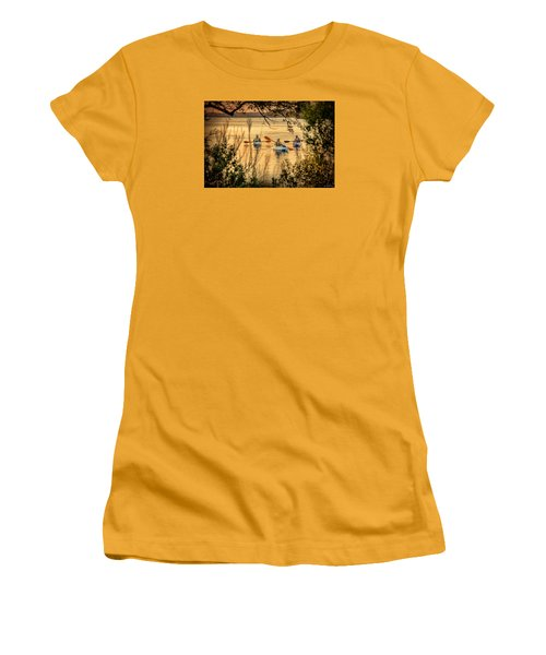 Women's T-Shirt (Junior Cut) featuring the digital art Three Kayaks Coming Home by Phil Mancuso