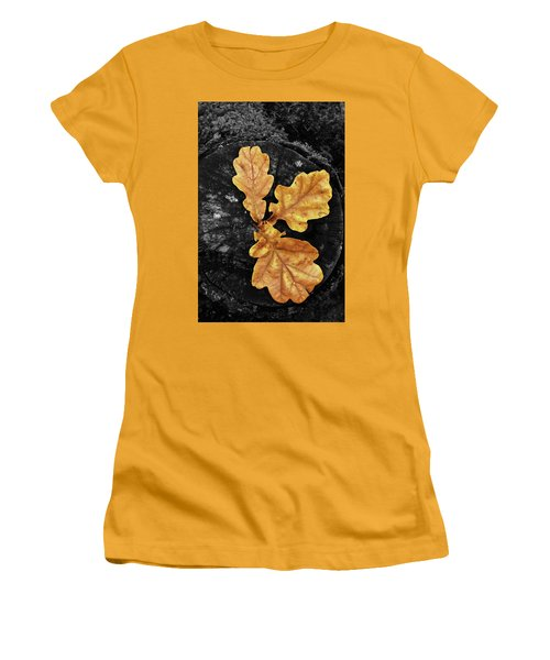 Three Leaves On Black Women's T-Shirt (Athletic Fit)