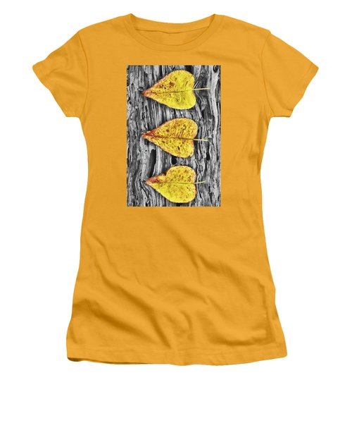 Three Yellow Leaves Women's T-Shirt (Athletic Fit)