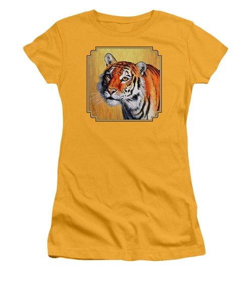 Tiger Portrait Women's T-Shirt (Junior Cut) by Crista Forest